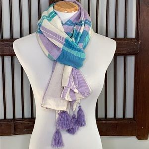 TALBOTS LAVENDER/TURQUOISE 💯 WOOL SCARF W POMPOMS